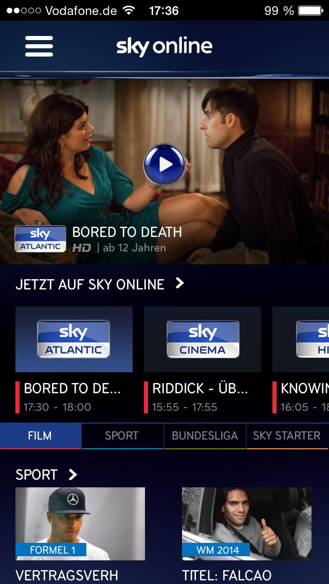 Screenshot von Sky Online iPhone- / iPad-App